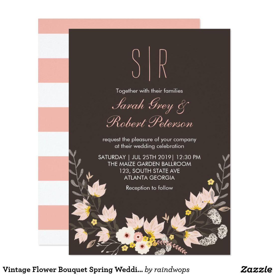 Vintage Flower Bouquet Spring Wedding Invitation Wedding