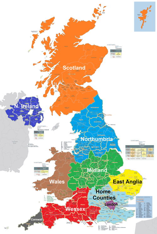 Map UK divided into 10 states Random Fascination