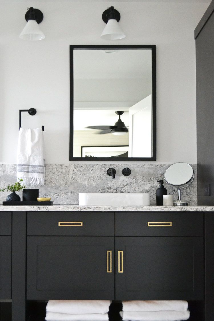 Modern bathroom, with black vanity and brass hardware | Jaclyn ...