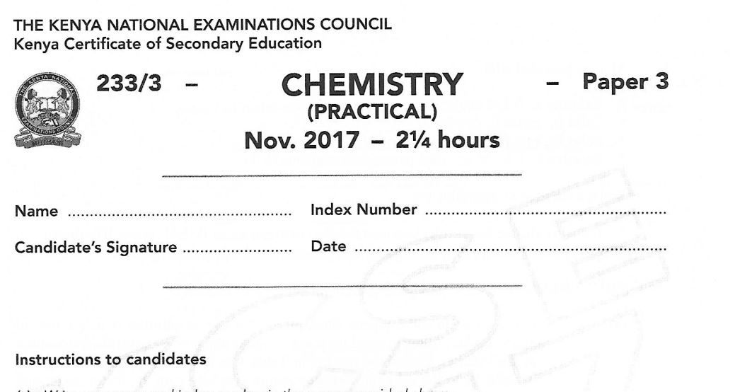 How To Pass Chemistry Kcse Exams In Kenya And Past Papers