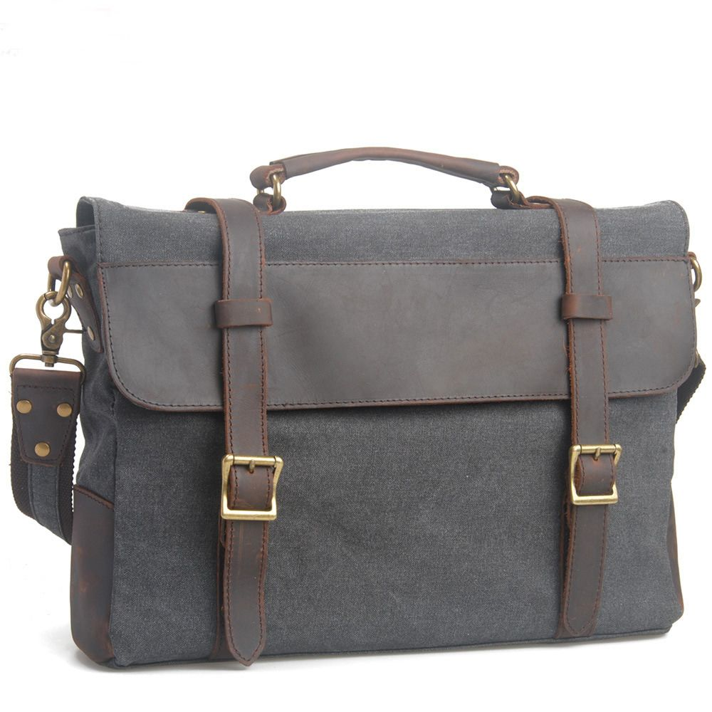Handmade Vintage Crazy Horse Leather Canvas Single Shoulder Bags / Messager Bags / Briefcase / 13' 15' MacBook / 14' Laptop Bags (M6870-Gray...