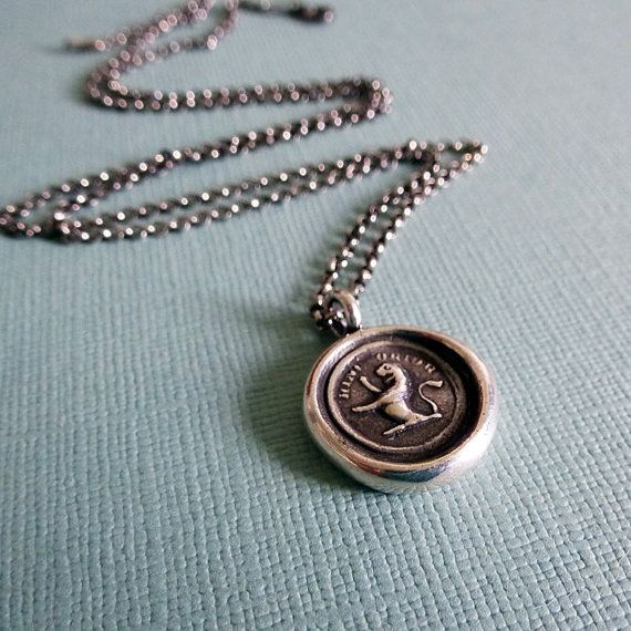 Be a Lion - From Here I Rise Lion Wax Seal Necklace  Kefira's necklace
