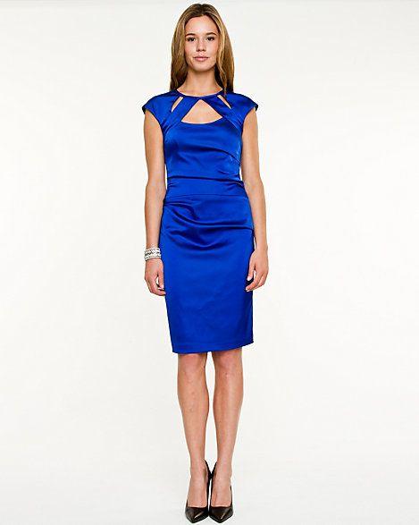 Blue Matte Satin Short Dress