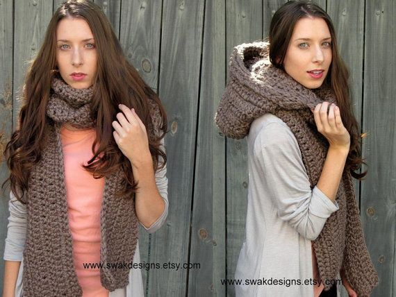 Oversized Hooded Scarf Lofty Handmade Scarf Womens Scoodie Scarf