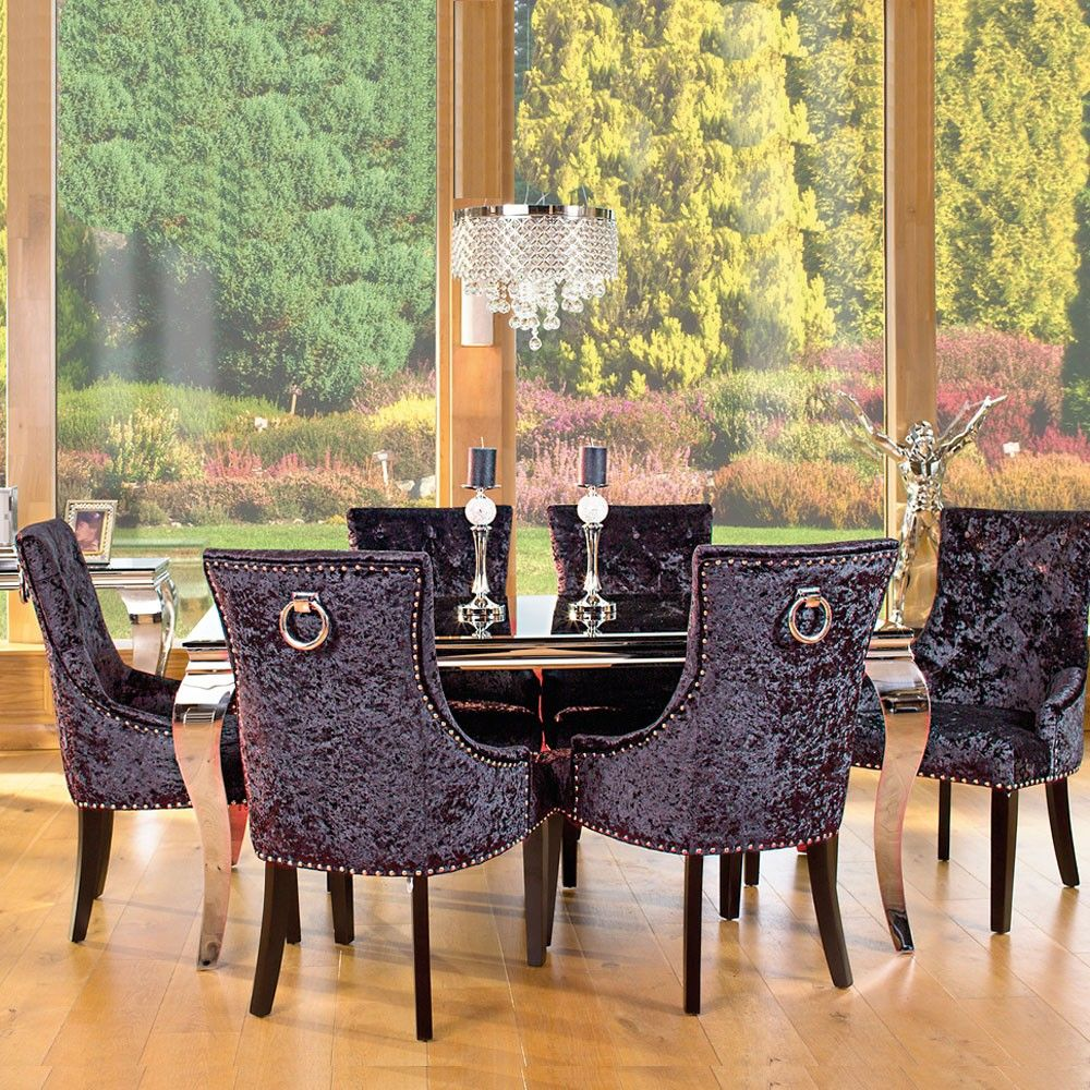 louis black glass and steel 160cm dining table and 6 chairs with louis black glass and steel 160cm dining table and 6 chairs with knocker