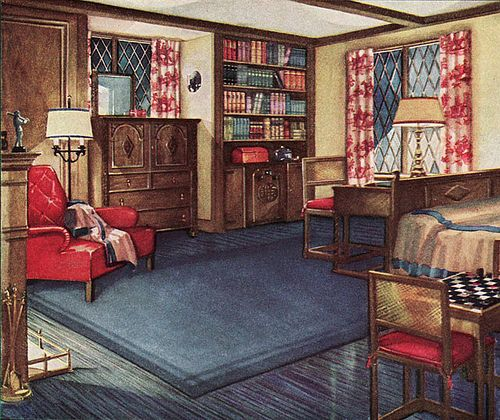 Masculine Vintage Bedroom: 1931 Armstrong Linoleum Ad - Bedroom In 2020