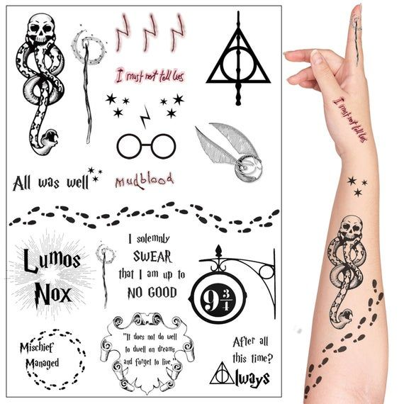 Harry Potter Cosplay and Fan Art Temorary Tattoo Set. 20 | Etsy