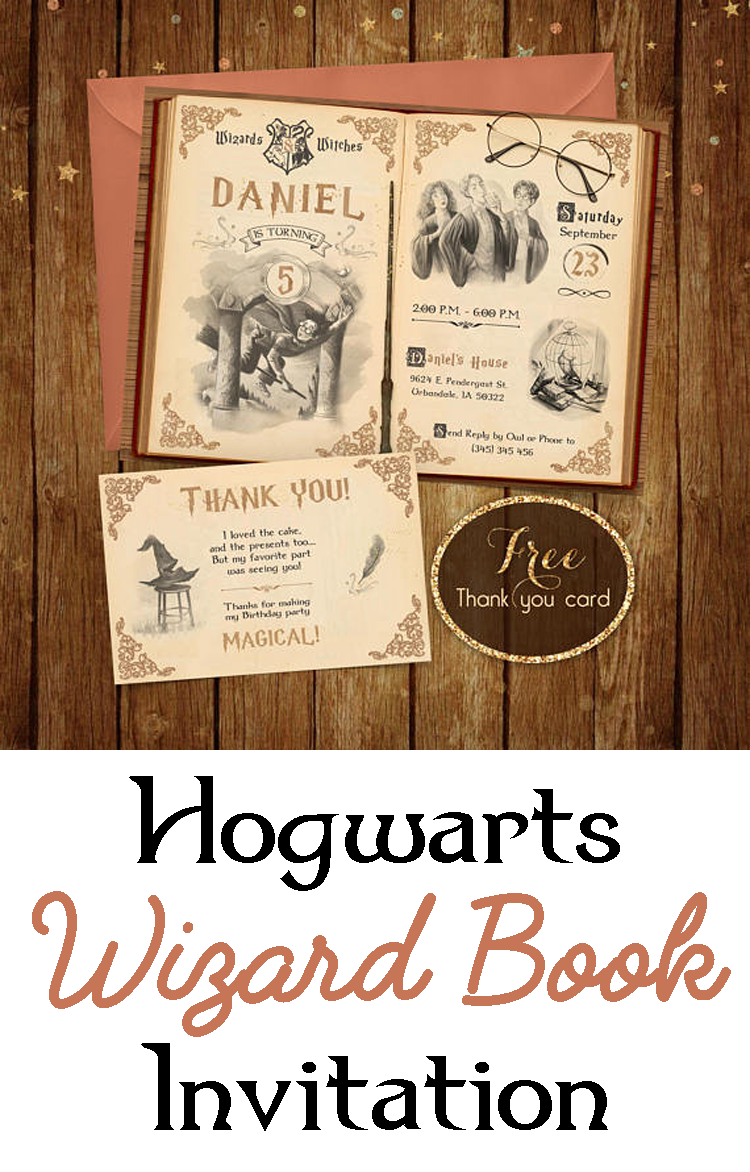 Harry Potter Birthday Invitation   Printable Harry Potter Invite   Hogwarts  Wizzard Book Invitation   Harry