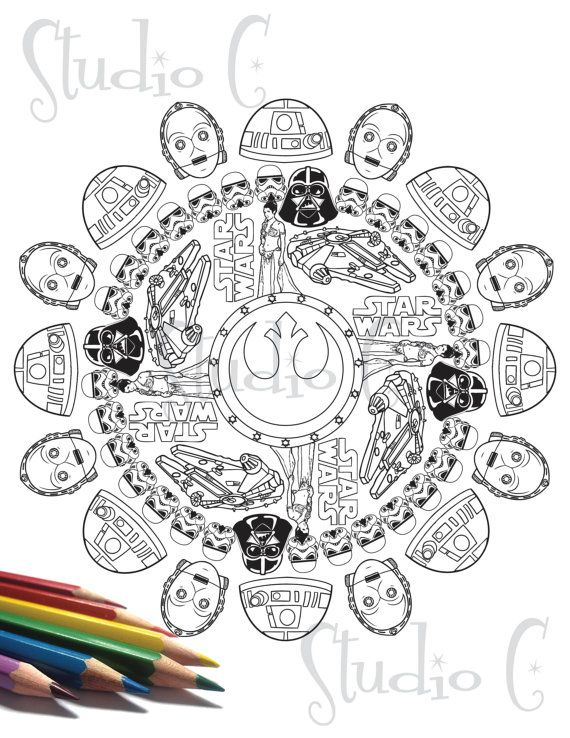 Star Wars Mandala Color Page By Studiocshop On Etsy Mandalas