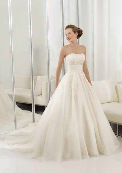 Ball Gown Tube Long Organza Wedding Dress Simple And Cute 369 99 Wedding Dress Organza Wedding Dresses Ruffle Wedding Dress