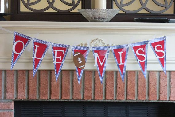 Ole Miss Pennant Banner Free Shipping By Sofilledwithlove On Etsy
