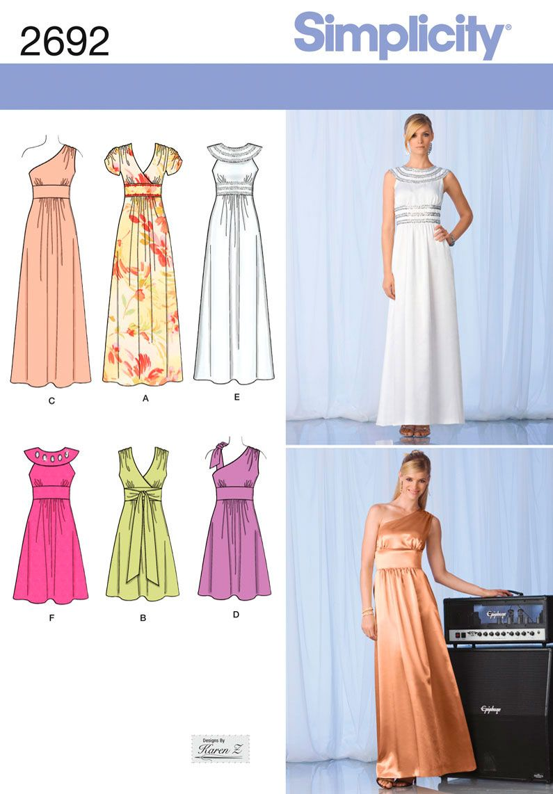 Womens Dress or Gown Sewing Pattern 2692 Simplicity | Sewing ...
