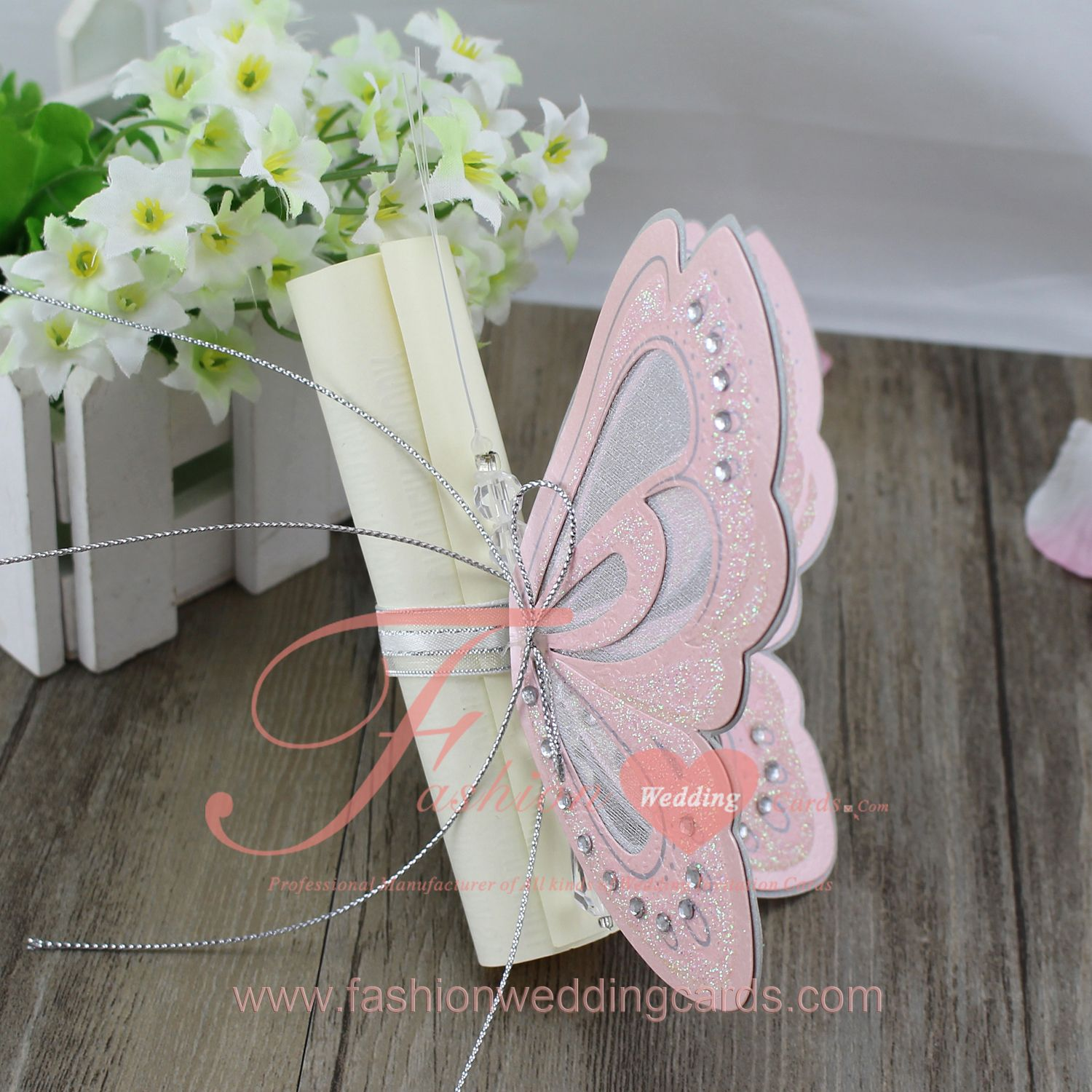 T192s Pink Butterfly Scroll Wedding Invitations Butterfly Wedding Invitations Butterfly Invitations Cheap Wedding Invitations