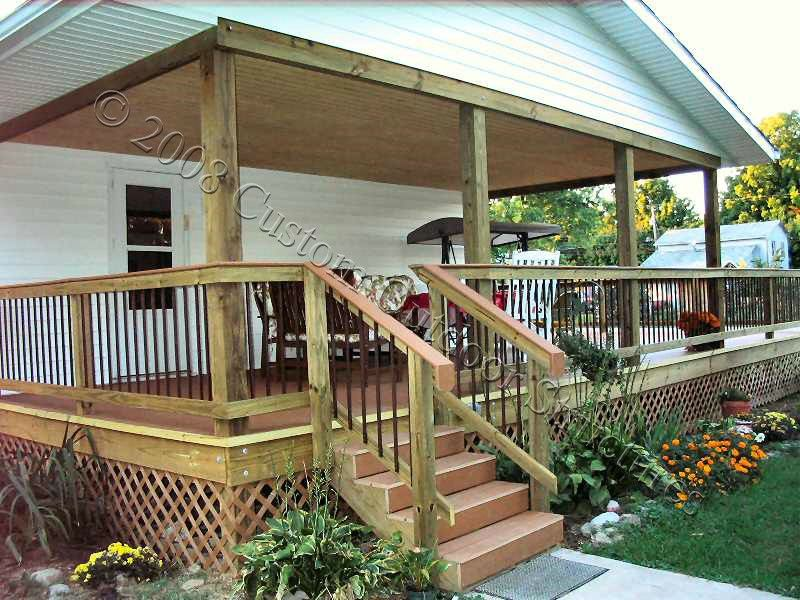 Covered deck plans decks pinterest for Covered porch flooring options