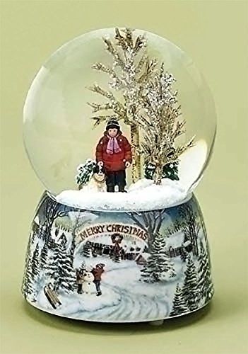 """Save $4.00 on Merry Christmas Snowy Woodland Scene Music Snow Globe Glitterdome - 5.5"""" Tall 100MM - Plays Tune Over the River...; only $35.00"""