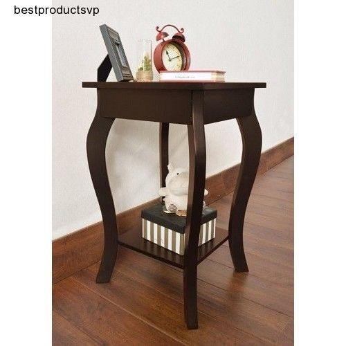 Small Wood End Table Modern Accent Side Nightstand Chairside Espresso Curved