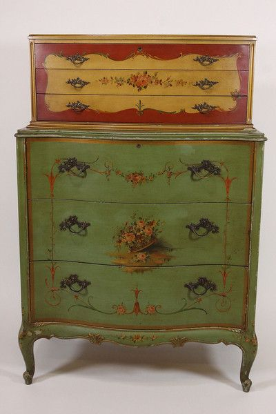 Antique Robert W Irwin Hand Painted Dresser Chest of Drawers - Free  Shipping from RoofTop Antiques - Antique Robert W Irwin Hand Painted Dresser Chest Of Drawers - Free