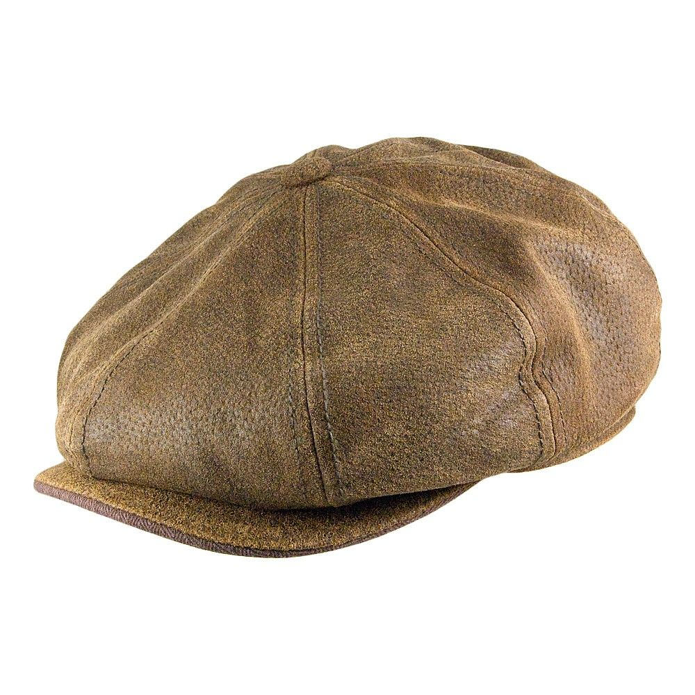 98f6c406a Stetson Hats Burney Leather Newsboy Cap - Brown | NEWSBOY HAT ...