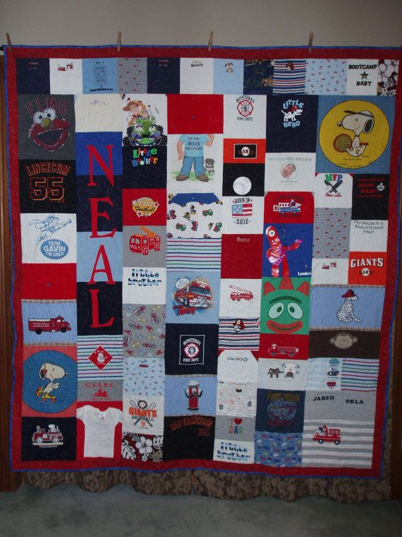 Baby Clothes Quilt in Red and Blue...nice little fireman theme on this one!