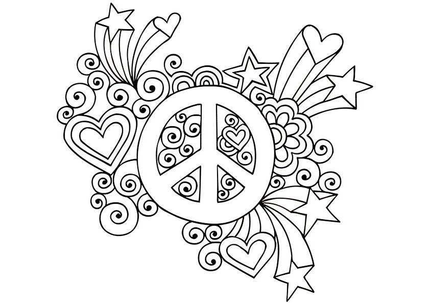 Simple And Attractive Free Printable Peace Sign Coloring Pages