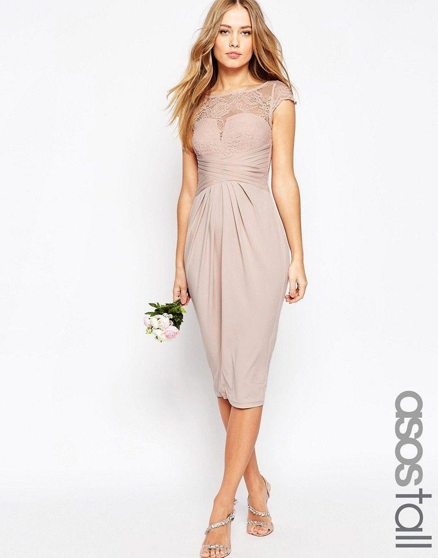 ASOS TALL WEDDING Lace Top Pleated Midi Dress at asos.com ...