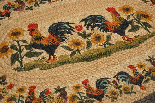 Rooster Oval Rug Cute Chickens And Roosters In