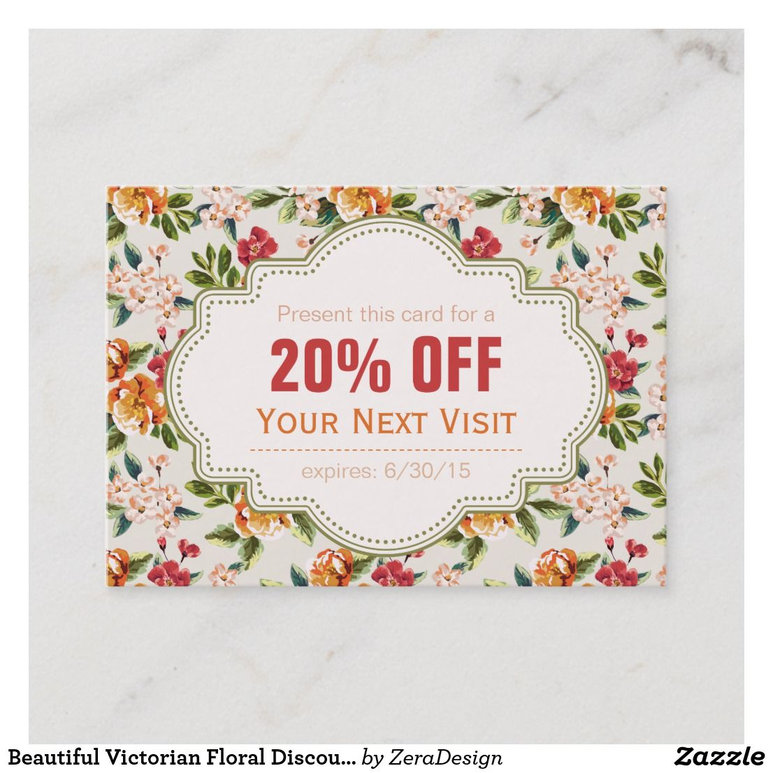 Beautiful victorian floral discount coupon gift zazzle