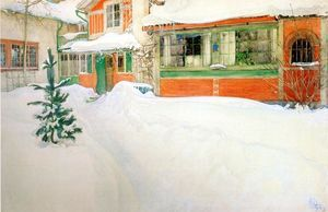 Cottage In Snow - (Carl Larsson)