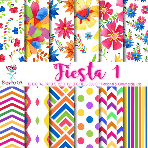 c389d9484b352 Colorful patterns, Mexican flowers, digital paper, scrapbooking ...