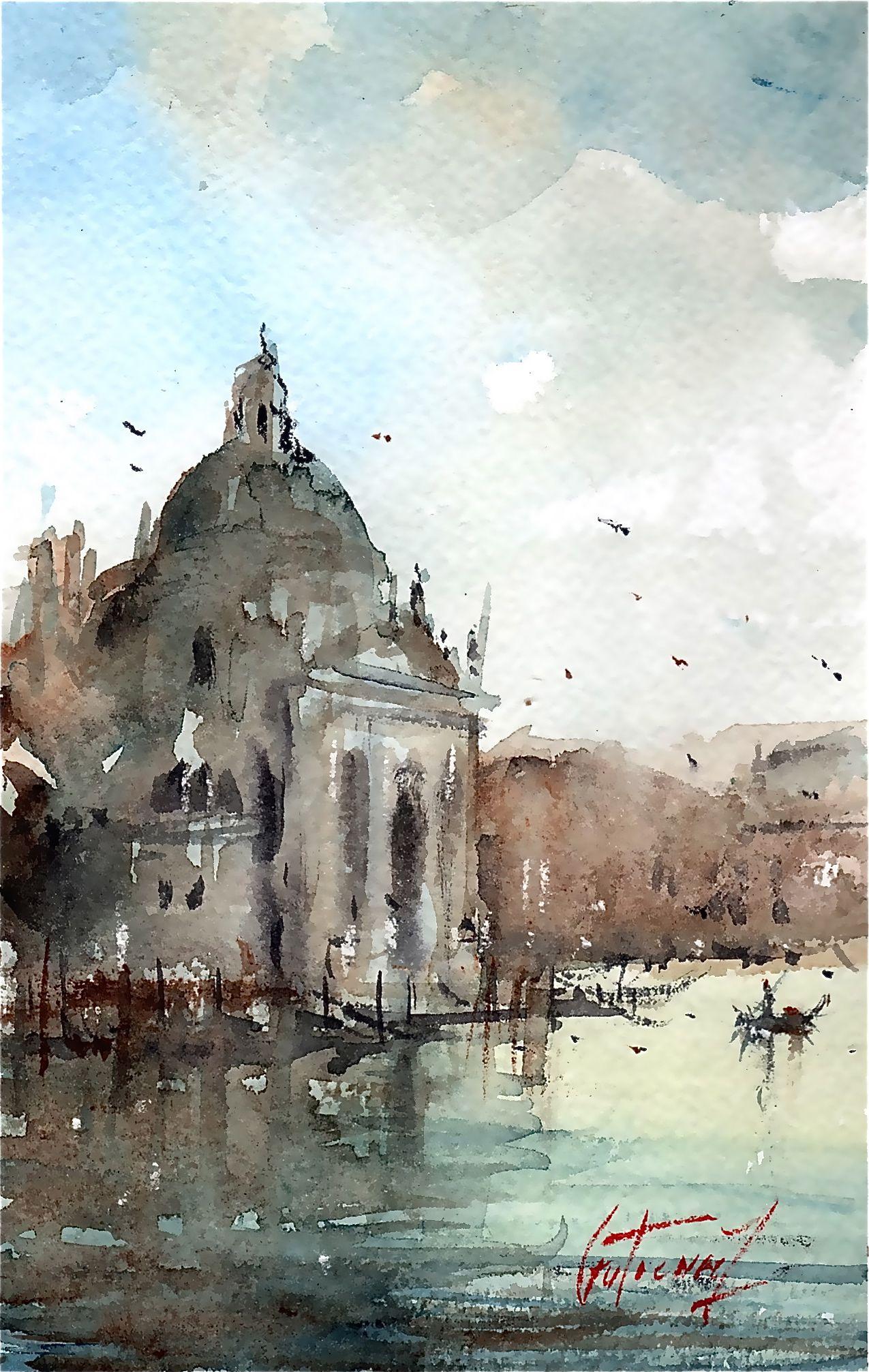 Venise Par Pierre Gutierrez Aquarelle Venise Pierre