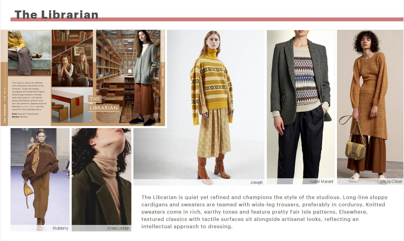 Librarian theme from WGSN A/W 2018-2019 Thinker | Fashion ...