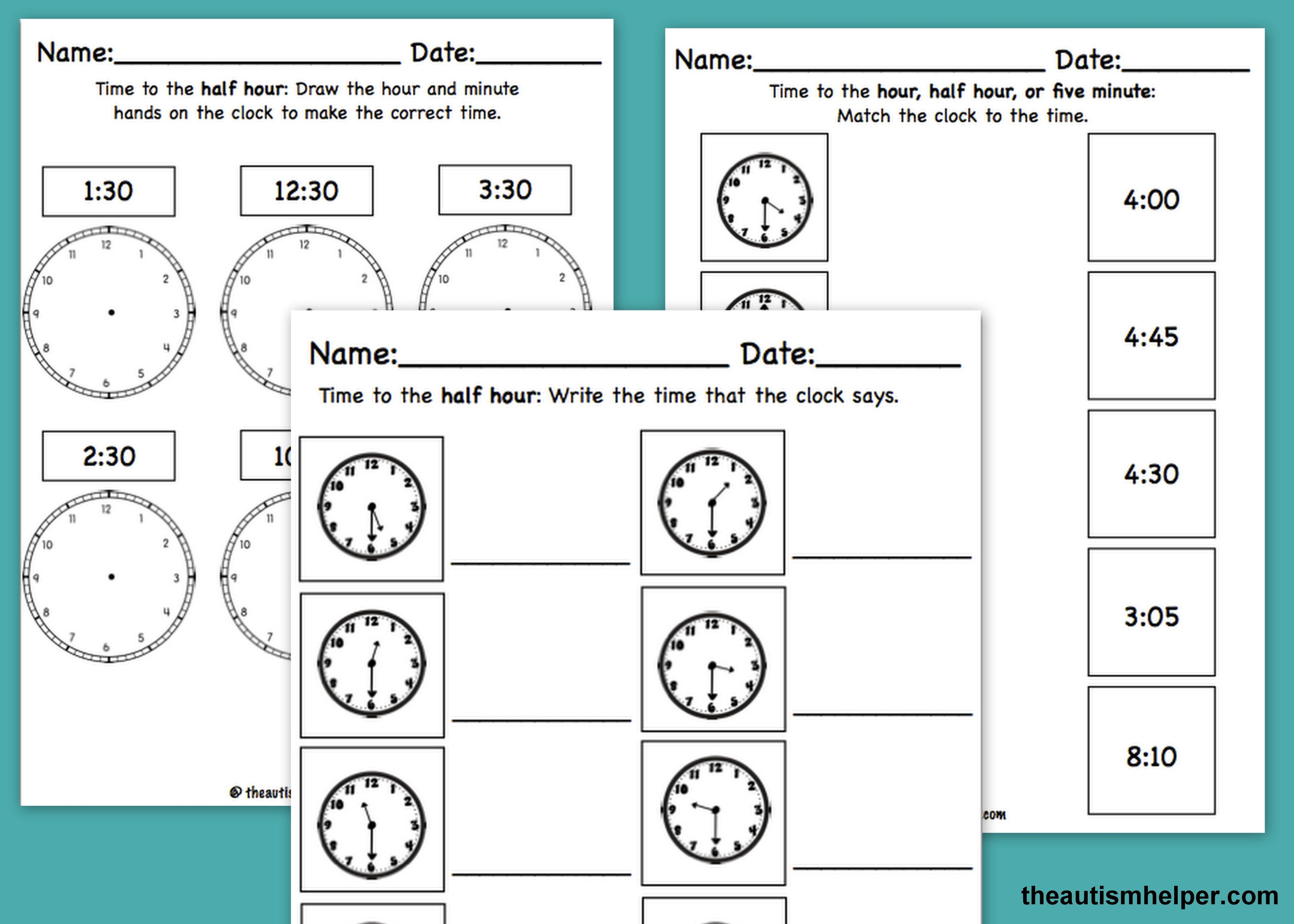 small resolution of Over 75 leveled telling time worksheets - ensure that foundational skills  are fully mastered! by…   Autistic students