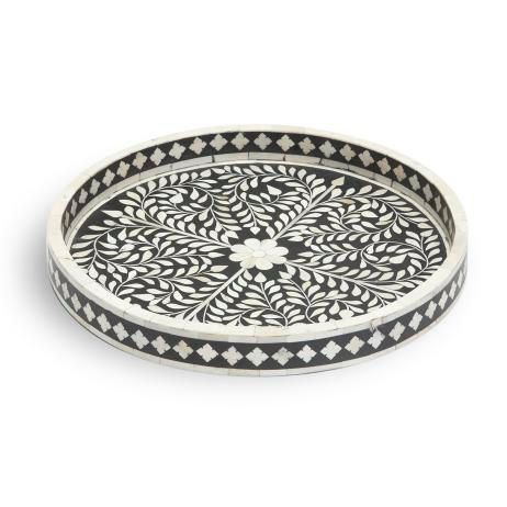 Round Bone Inlay Tray Bone Inlay Dining And Serving Home