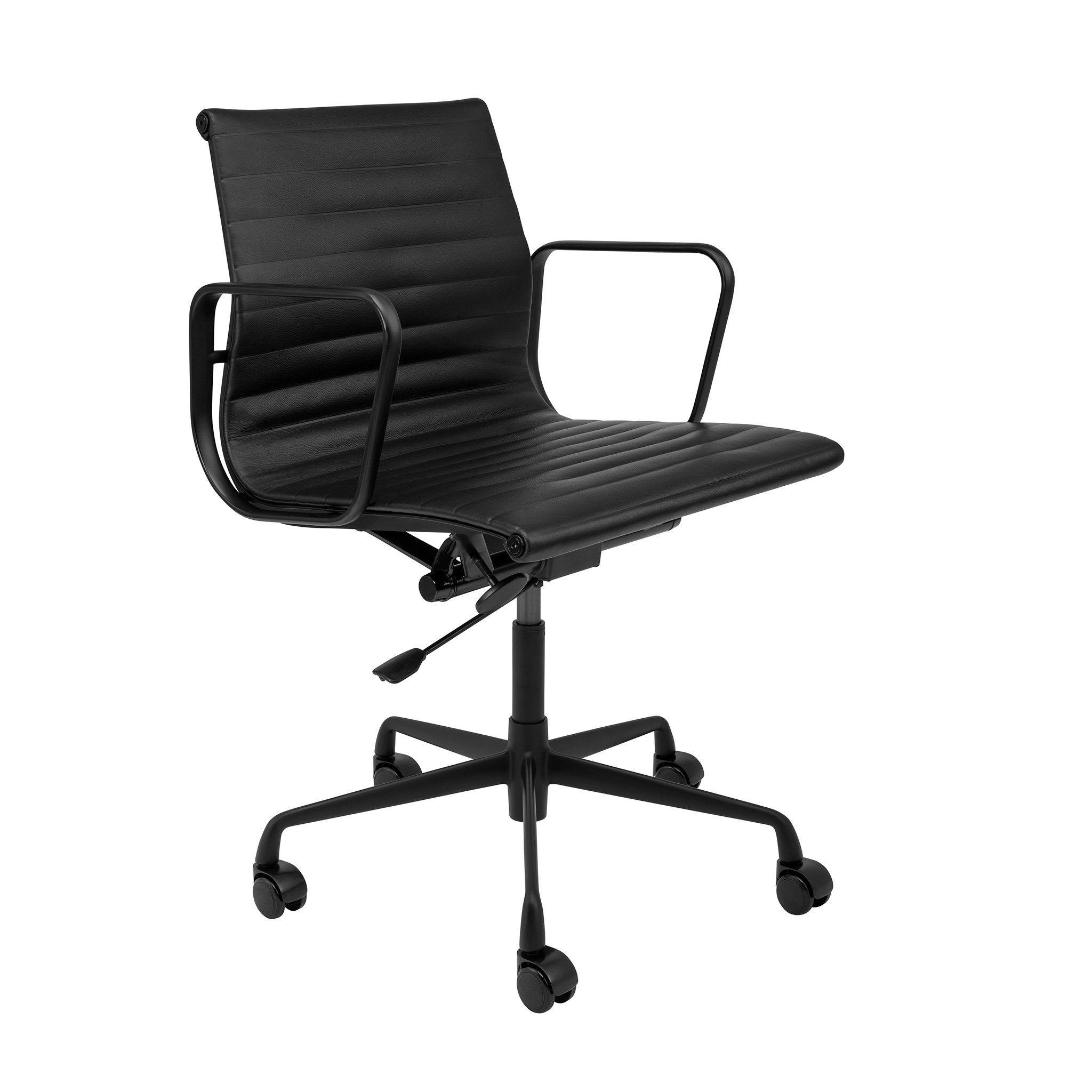 Soho Premier Ribbed Management Chair All Black Limited Edition Mid Century Modern Office Chair Black Office Chair Mid Century Modern Office