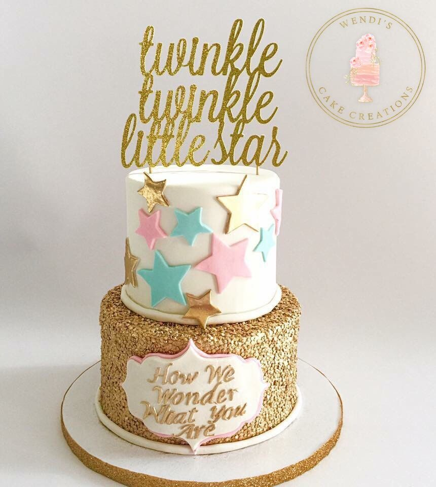 Gender Reveal Cake Twinkle Twinkle Little Star Cake Sequin Cake By Wendi S Cake Creations Gender Reveal Party Food Baby Reveal Party Gender Reveal Shower