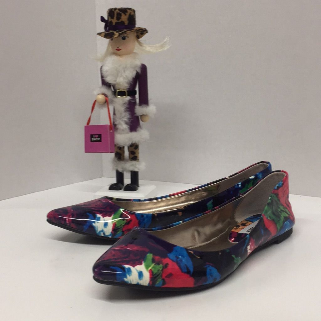 Steve Madden Multicolored Ibiza Flora Flatssize 7 Patent Leather Watercolor Flora Print, Slip Onexcellent Condition, Never Wornoffers Welcome