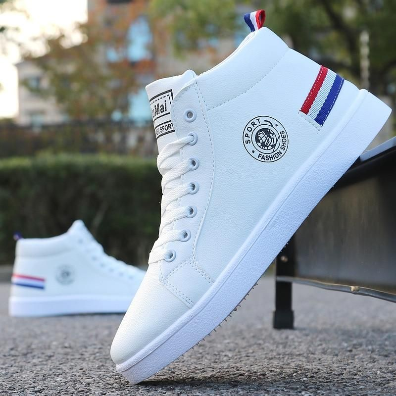 Men's Skateboarding Shoes High Top Sneakers  Breathable White Sports Shoes Students Shoes Street Walking Shoes – Men's  Erkek Giyim
