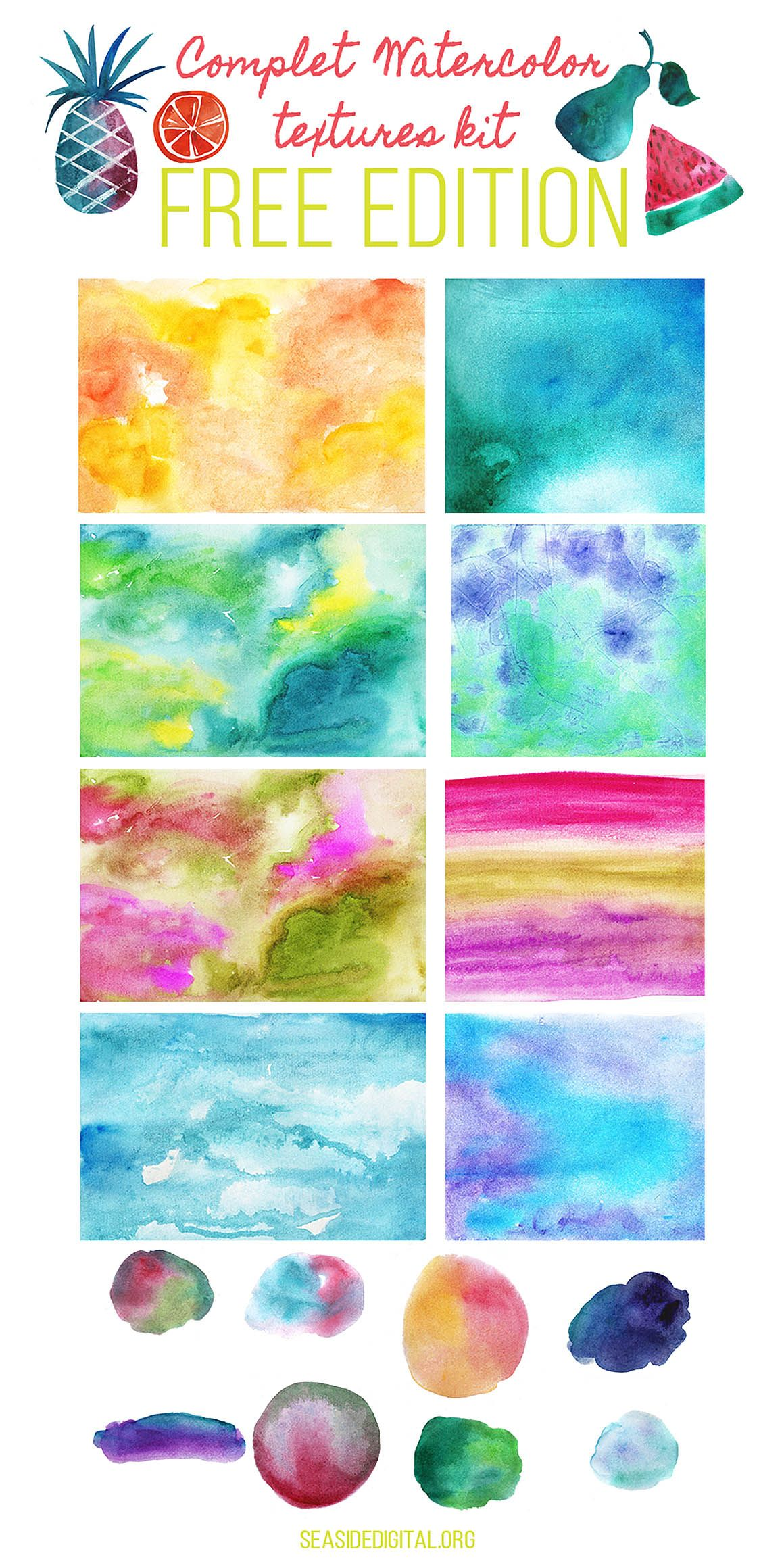 Free Watercolor Textures Kit Watercolor Texture Clip Art