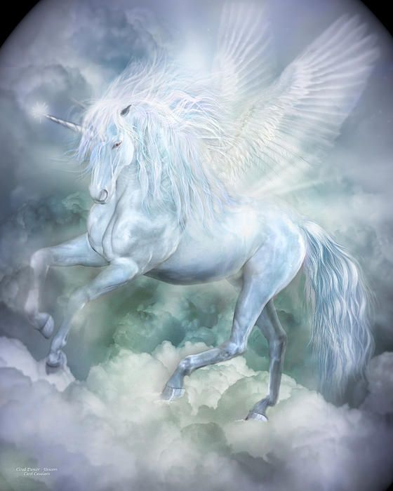 Unicorn Cloud Dancer by Carol Cavalaris - Unicorn Cloud Dancer Mixed Media - Unicorn Cloud Dancer Fine Art Prints and Posters for Sale