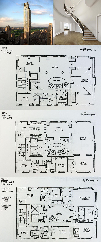 Revealed Asking Prices Floorplans For 520 Park Avenue The Next Billionaire S Row Blockbuster 6sqft Hotel Floor Plan House Plans Mansion Floor Plans