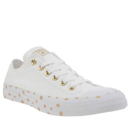 c1711b66146d83 womens converse white   gold all star polka dot ox trainers