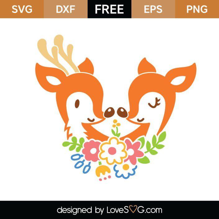 Download Deer and Reindeer in Love | Christmas svg files, Free svg ...