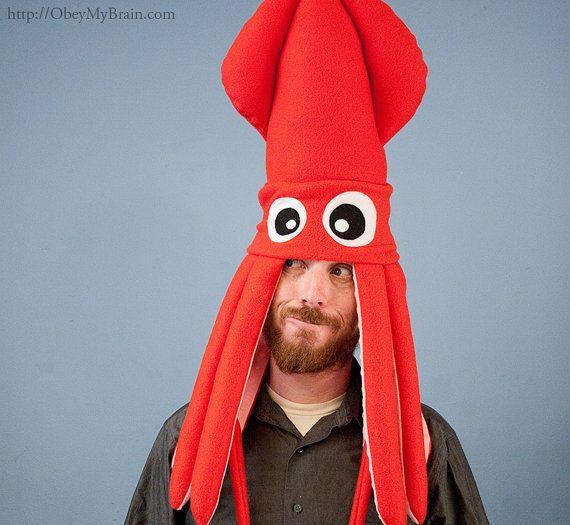 706f221b4e8 Plush Squid Hat - Red  58.00 USD  mens  hat  funny