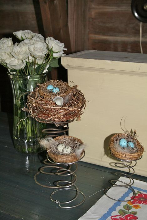 Birds nests on bed springs and blue satin egg shells.... these are a few of my favorite things..la la la