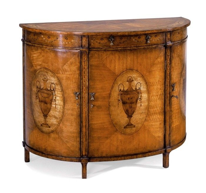 Merveilleux JONATHAN CHARLES Satinwood Adam Style Demilune Cabinet