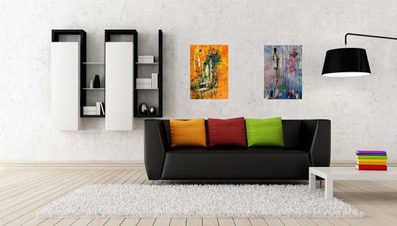 Kollaps, Acryl Gemälde auf Leinwand, Art Deko Lila Blau Schwarz