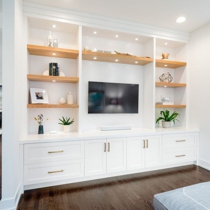 Photo of Modern Walnut Entertainment Center with Fireplace – Modern – Living Room – Detroit – by Labra D…