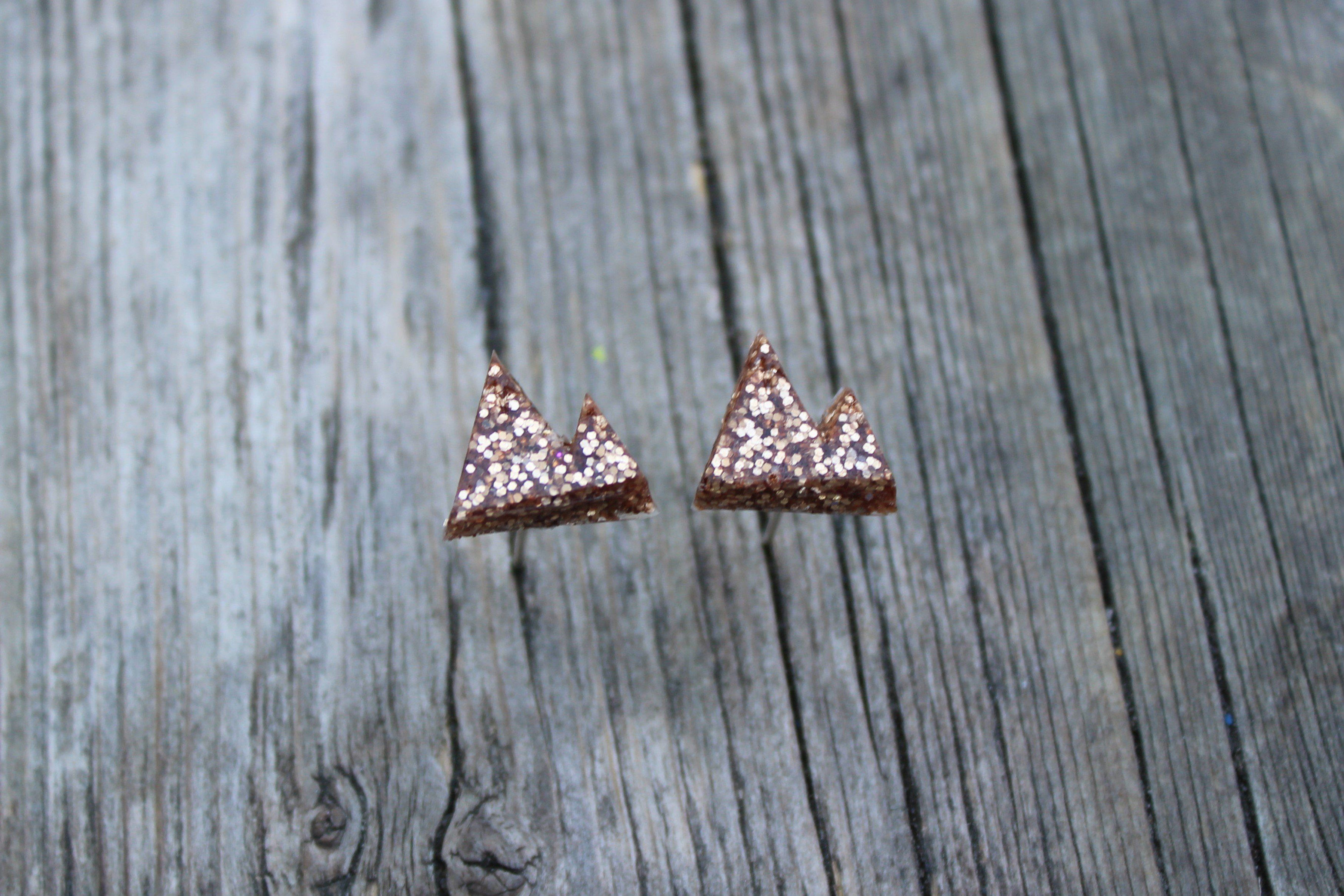 Rose gold mountain earrings. Available with metal or