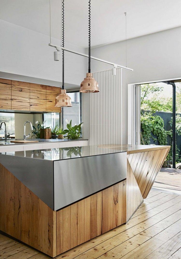 renovierte hüche kochinsel holz stahl pendelleuchten #house ...