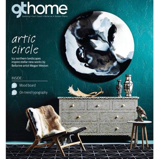 This inspires me to put a print of us in Iceland at front entry on similar coloured wall above sideboard. Our marble side table featured on the front cover of @gtmagazine for the launch of the incredible @mwestonart Icelandia collection.  Styled by @ruthwelsby  All in store at @fenton_and_fenton #harpersproject #marble #furniture #interiors #art #gtmagazine #fentonandfenton